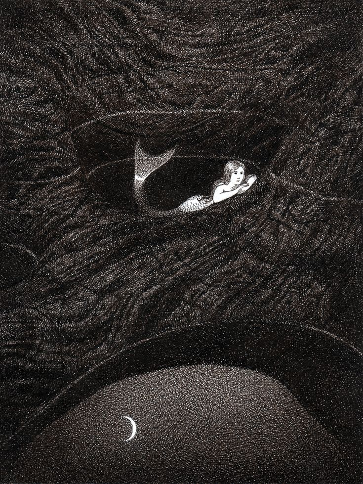 The giant's Kettles - mermaid by moonlight Paula Mela Illustration -