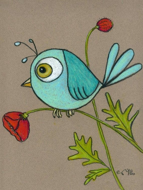 Blauer Vogel auf einem personalisierten Wirren Moh…
