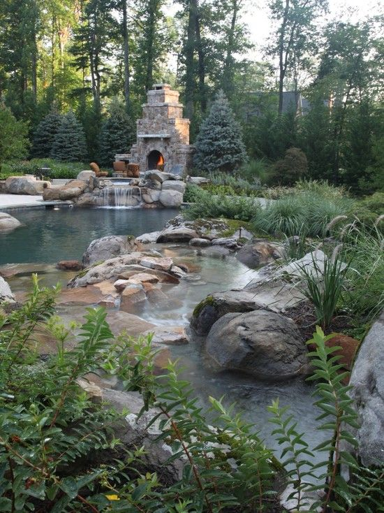 Rustic pool using natural rocks and plantings...elevated spa with spill-over and an outdoor fireplace...