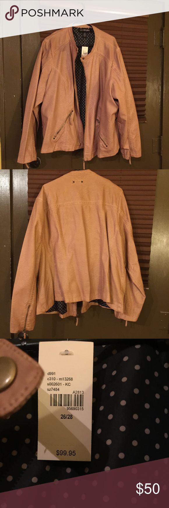 """NWT Tan Faux Leather Lane Bryant biker jacket Brand new with tags. Been sitting in my closet...the arms are too long for me. See tags for material. Arm length: 26.5"""" (has decorative zippers on wrists) length (shoulder to tip): 29"""", fully lined. The size is 26/28, however it runs large on me and I'm a chunky girl! LOL Let me know if you have further questions! Lane Bryant Jackets & Coats"""