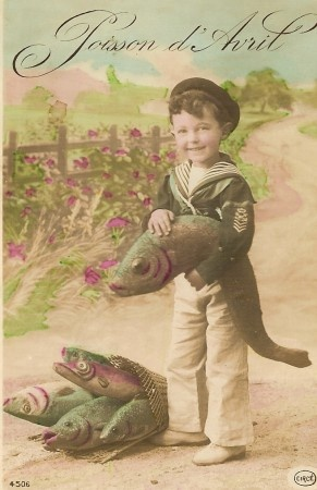 Vintage French 'Poisson d'Avril' post card with a boy in sailor suit.