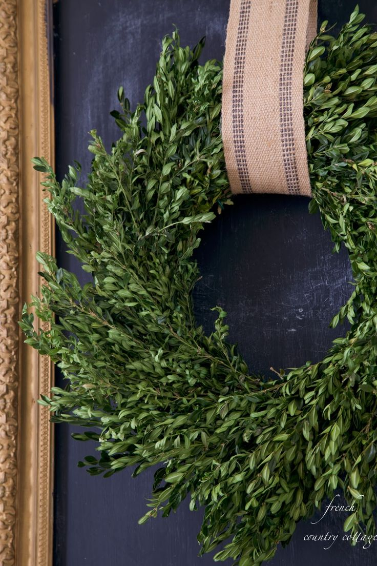 Boxwood love - Yup, but the wreath hanger, not so much. the Clever Hanger - out of sight is better http://www.thecleverhanger.com