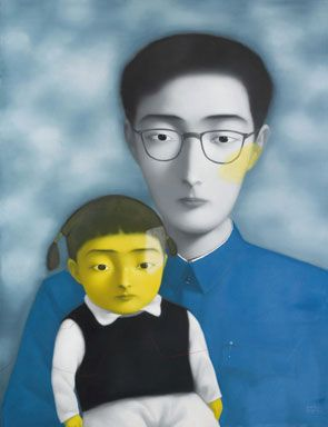 Zhang Xiaogang (b. 1958), Bloodline: Big Family Series No. 12, 1996. Oil on canvas, 190 x 150 cm. Photo: Sotheby's Copyright © artdaily.org