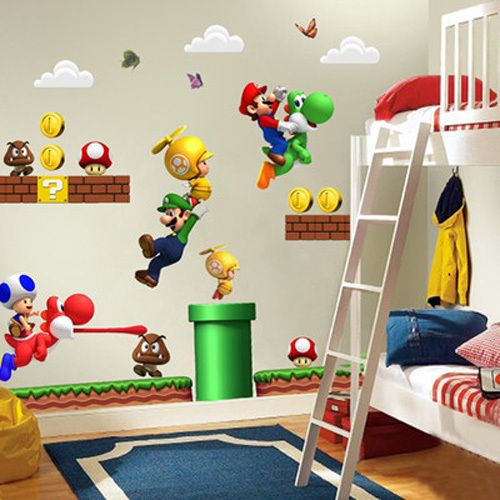Super Mario Bros Wall Decals (Kids & Nursery Room Removable PVC Vinyl Stickers, Home Decor Ideas, Super Nintendo, Mario & Luigi Brothers)