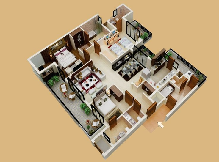 53 best 3D plans layout images on Pinterest Architecture Models
