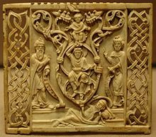 Ivory from Bavaria The rectangular back of an ivory comb (right) from Bavaria, from about 1200, is delicately carved with a Tree of Jesse scene, showing Jesse lying with the tree emerging from his navel. Two branches form a mandorla around the Blessed Virgin Mary who raises on hand to support the infant Christ, while with her other, she holds a scroll. A prophet stands to either side.