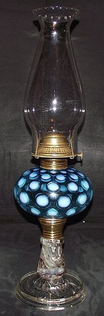 """Hobbs White & Blue """"Inverted Thumbprint Fount""""  with  Rare """"Detroit  End of Day Spatter Glass Base"""" Oil Lamp with Petal Top Chimney !!!"""