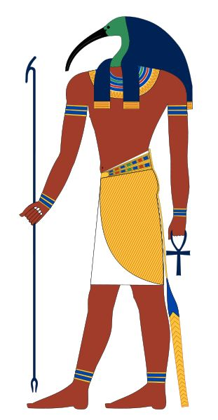 Thoth   Thoth is the name given by the Greeks to the Egyptian god Djeheuty. Thoth was the god of wisdom, inventor of writing, patron of scribes and the divine mediator. He is most often represented as a man with the head of an ibis, holding a scribal palette and reed pen. He could also be shown completely as an ibis or a baboon.