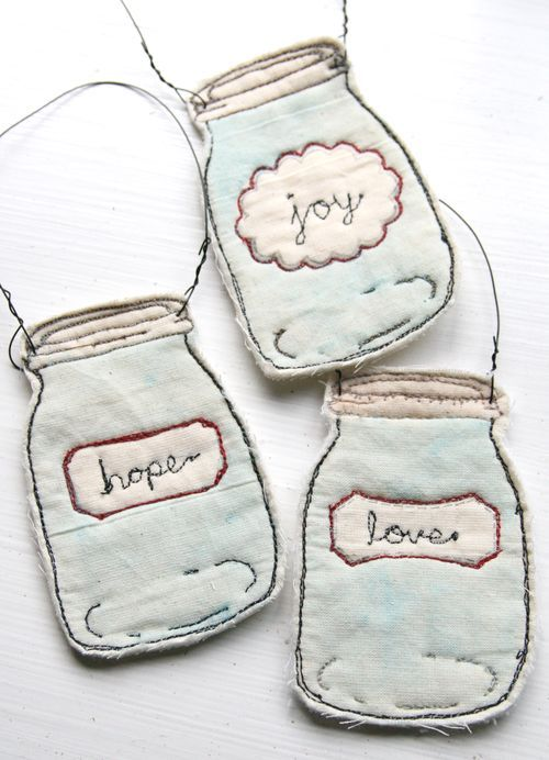 On Craftsy: Free motion quilted, stamped and watercolored Mason Jar Ornaments for Christmas