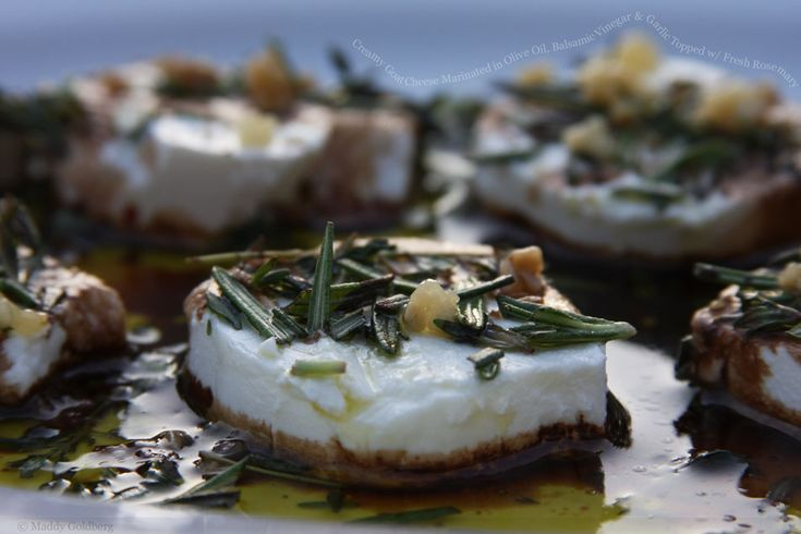 Creamy goat cheese marinated in olive oil, balsamic vinegar & garlic ...