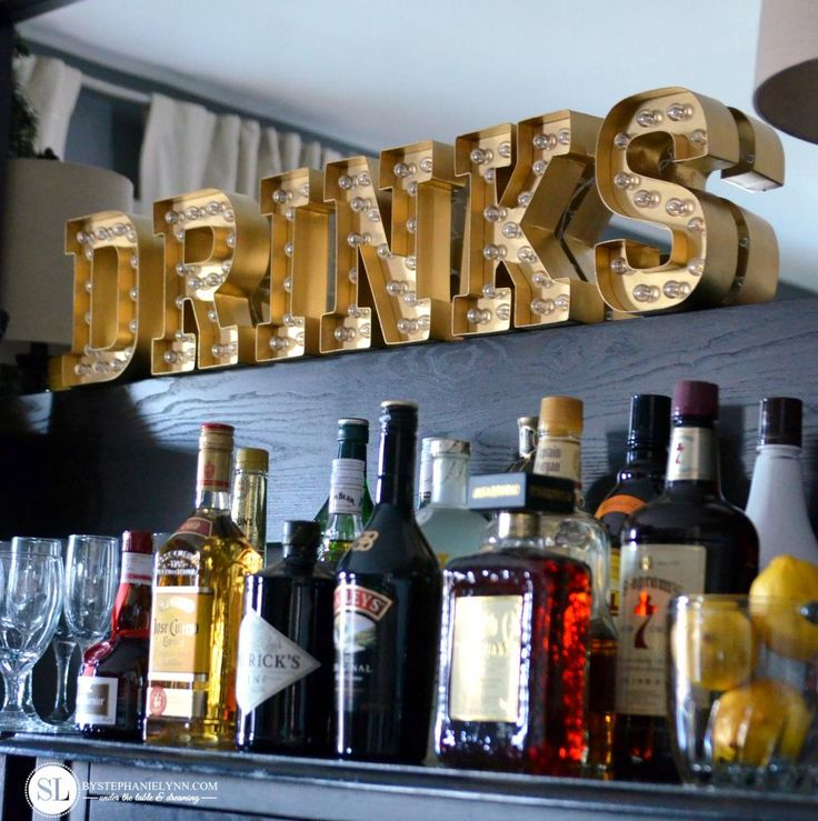 DIY Party Bar Marquee Lights #hsmarqueelove