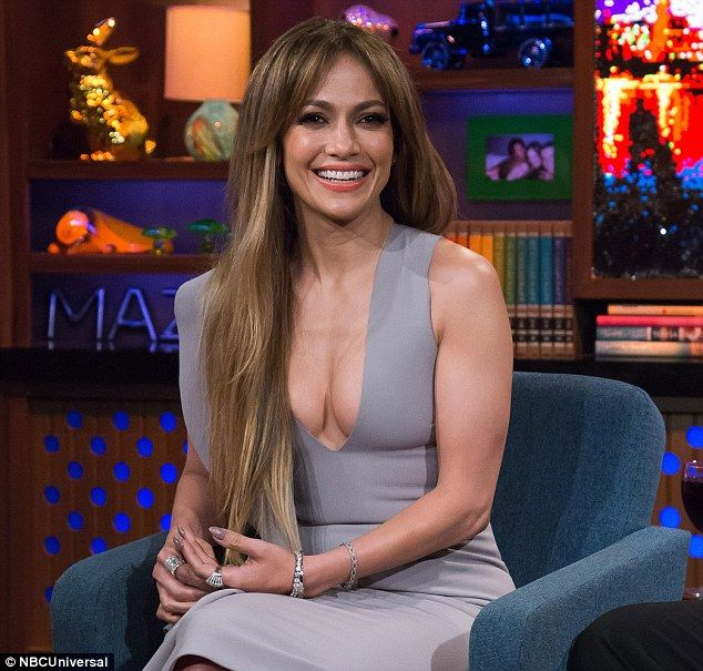 Gorgeous in grey: Jennifer Lopez ensured her phenomenal figure would be on full display as she filmed Watch What Happens Live with Andy Cohen on Monday