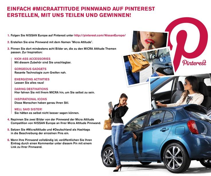 DEUTSCHLAND: Wer hätte gedacht, dass das Pinnen hier so einen Spaß macht. Zeigt uns die #MicraAttitude. Erstellt ein #MicraAttitude-Pinterest-Board und teilt es mit uns, um eine Geschenke-Box zu gewinnen. Um die kompletten Teilnahmebedingungen lesen zu können, klickt einfach auf das Bild. #Gewinnspiel #Wettbewerb #Micra #Auto #Lifestyle #Frau #Attitude #Kommentar #Überschrift
