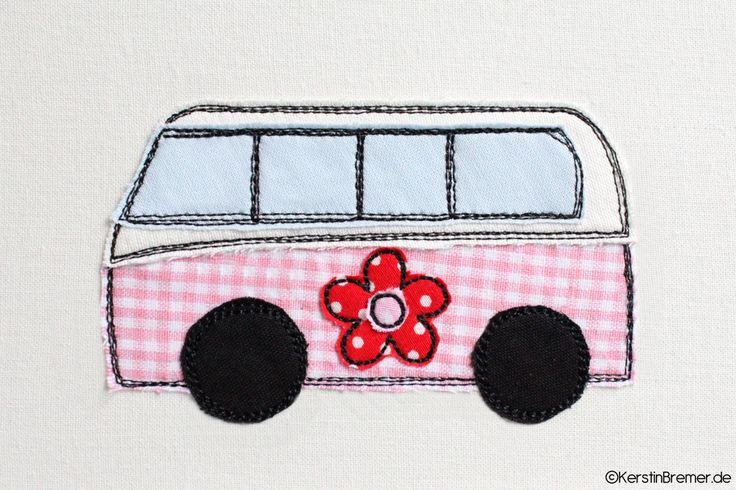 Bus mit Blümchen doodle Stickdatei von KerstinBremer.de. ♥ Doodle bus appliqué embroidery file for embroidery machines. #sticken #embroiderydesign #nähmalen
