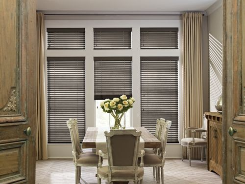 design a perfect dining ambiance with the timeless beauty of authentic handcrafted hardwood blinds - Dining Room Blinds