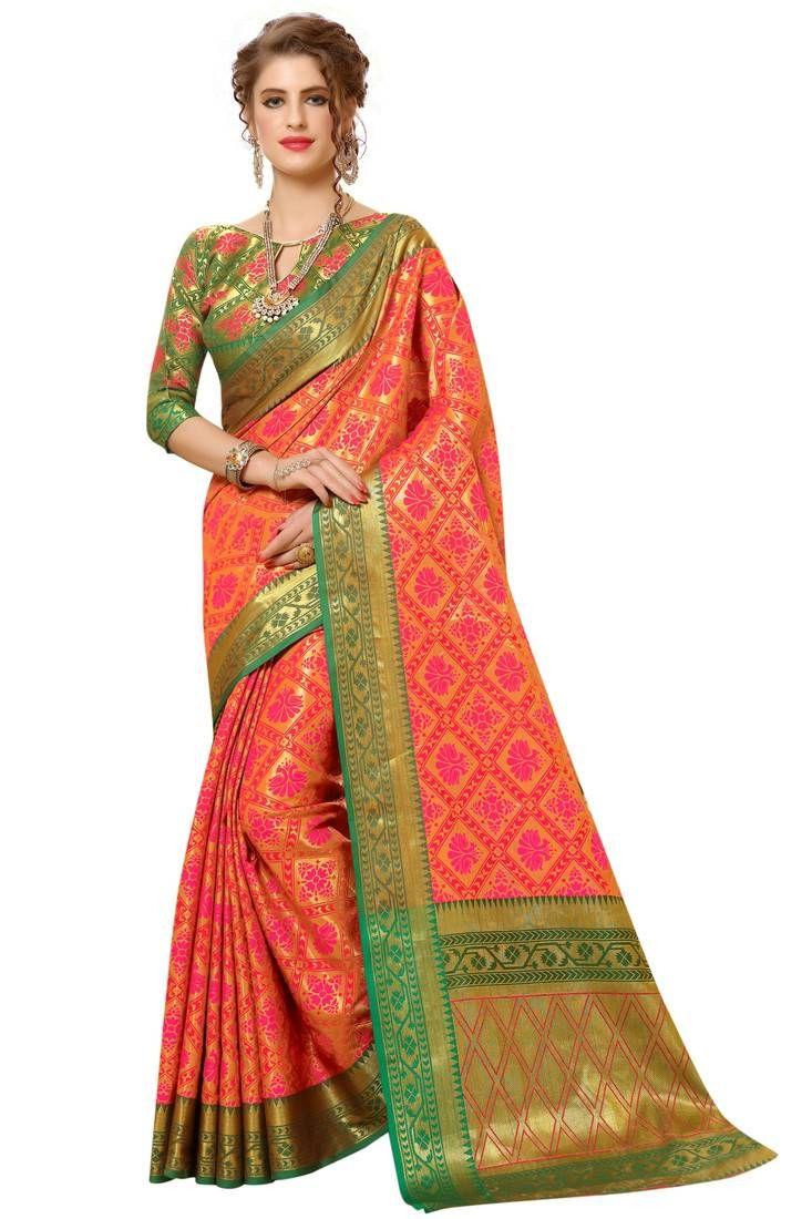 3d66bd9a2 Multicolor Zari Woven Banarasi Saree With Blouse, Designer Border And Fancy  Pallu.