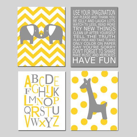 Elephant Giraffe Nursery Art  Set of Four 8x10 Prints  by Tessyla, $65.00