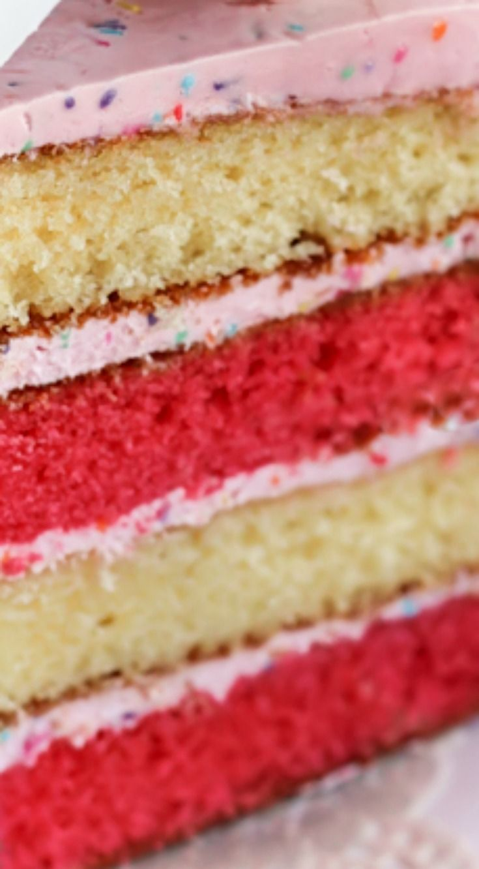 Pink & White Layered Cake with Strawberry Funfetti Buttercream Recipe