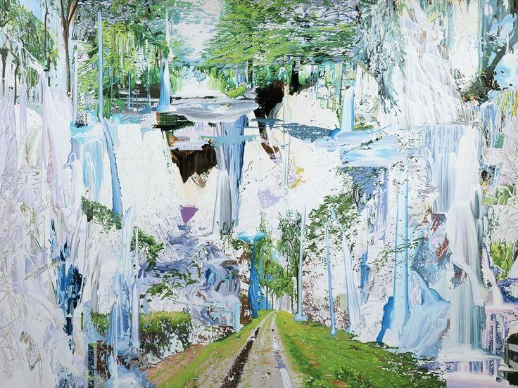 Corinne Wasmuht, Llanganuco Falls, 2008, Oil on wood, 117,32 x 153,54 in