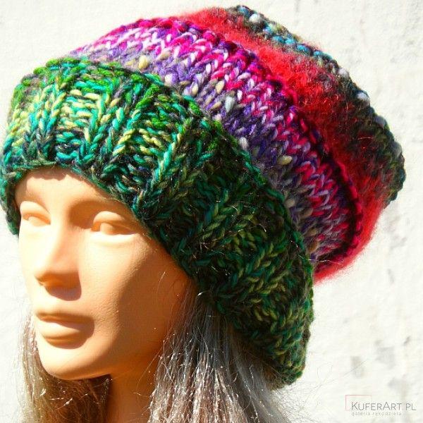 Czapka kolorowy szron, zielony - Czapki, berety - Ubrania