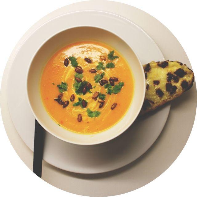 Butternut squash-suppe med kokosmelk og chili