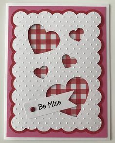 Handmade Valentine's Day Card, Be Mone, Happy Valentine's Day, Hearts, I love You by JuliesPaperCrafts on Etsy