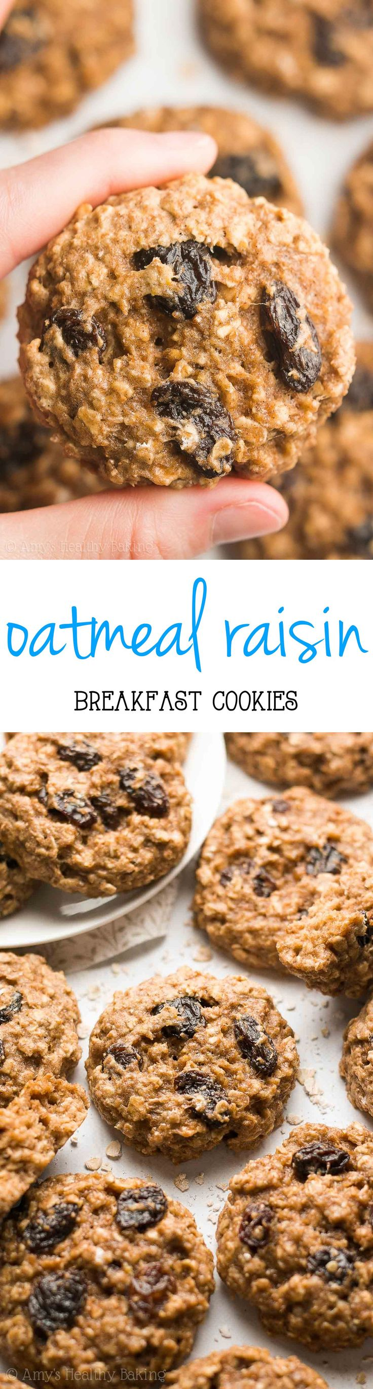 Healthy Oatmeal Raisin Breakfast Cookies -- only 82 calories! These skinny cookies don't taste healthy at all! Just like regular cookies!