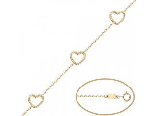 #Pulsera 3 corazones de Oro de 18 Kl.  Aquí te ofrecemos esta preciosa Pulsera, está realizada en Oro de 18 Kl. con figuras de tres corazones intercalados. Su terminación es en brillo. Sin duda una joya con gran valor simbólico que gustará y mucho a una mujer romántica que adora las creaciones sencillas pero elegantes. Es perfecta si quieres hacer un regalo especial.  Medidas: ancho del corazón 9 Mm. Cadena de 1 Mm. de grosor y 19 Cm. de longitud con opción de colocar a 17 Cm.