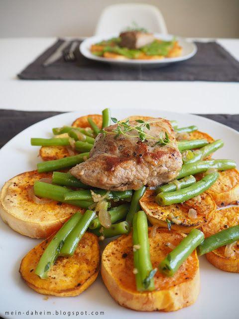 #food #schweinefilet #honig-thymian-sauce #honig #thymian# süßkartoffel #süßkartoffeln #buschbohnen #fisolen #schwein #filet #hellofresh #hellofreshbox #kochen #cooking #foodblog #foodblogger