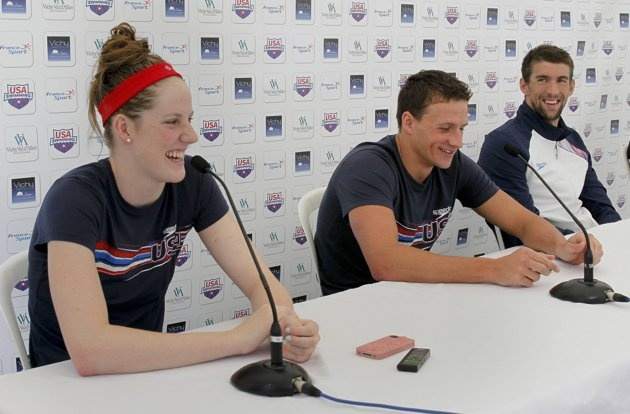 (L to R) Members of U.S. national Olympic swimming team Missy Franklin, Ryan Lochte and Michael Phelps attend a news conference after a training session for the London 2012 Olympics, in Bellerive, July 21, 2012.