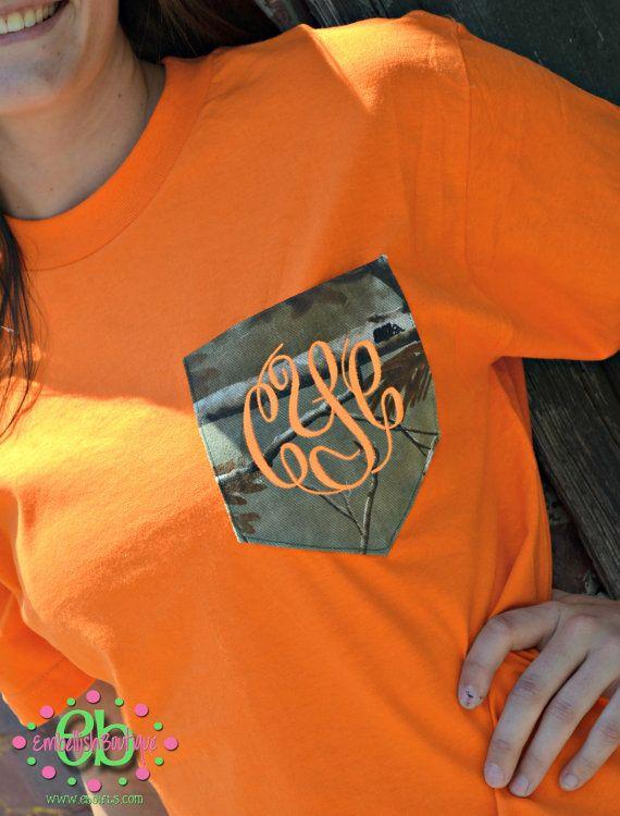MONOGRAMMED Camo Patterned Pocket Tee - Short Sleeve - Hunting - Girls - Women - Fluorescent Orange - Deer on Etsy, $26.00