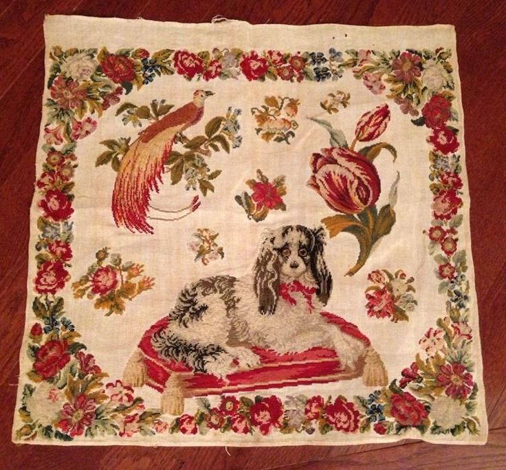 Antique 19th Century Sampler Signed Dog Bird Of Paradise Florals Needlework