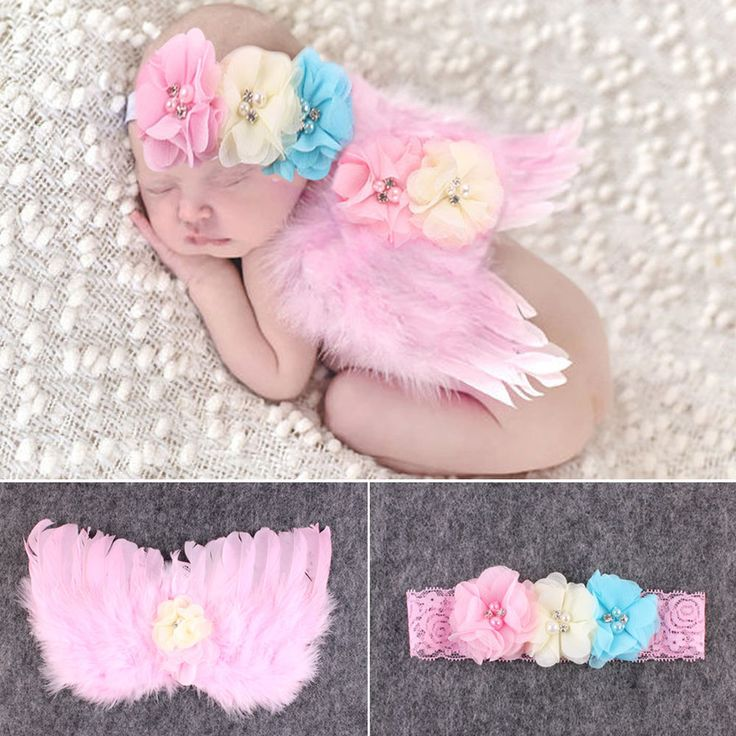 Newborn Baby Girls Feather Angel Wing +Flower Headband Photography Props Outfit #Unbranded