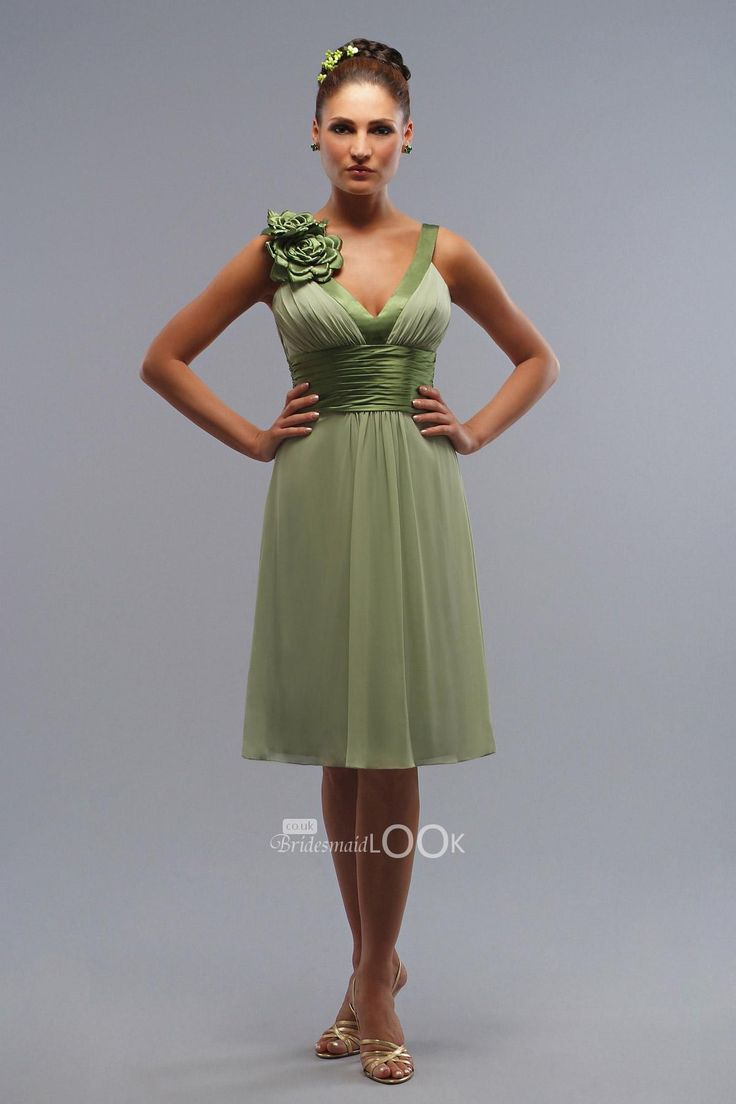 15 best bridesmaid dresses images on pinterest green bridesmaid chiffon v neck tea green bridesmaid dress with 3d flower strap ombrellifo Images
