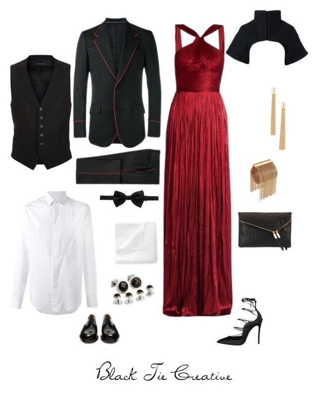 """""""Red: Creative Black Tie"""" by stephanie-lo on Polyvore featuring Maria Lucia Hohan, Lanvin, Gucci, Dolce&Gabbana, Tom Ford, Topman, Ike Behar, Dsquared2, Vetements and Gareth Pugh"""