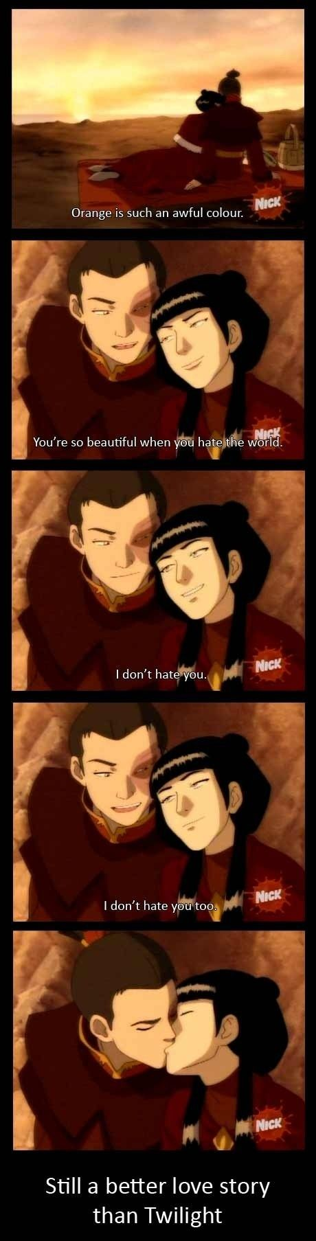 Ahahhaa. I hate Twilight.  Avatar the Last Airbender. FTW. <3