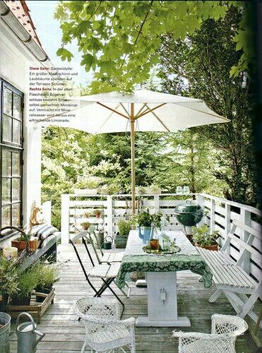Outdoor space to relax. Love the patio umbrella