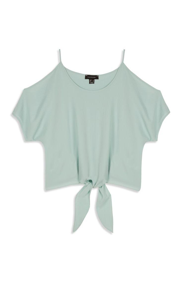 Primark - Mint Cold Shoulder Tie Waist Crop Top