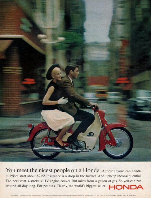 1965 Honda scooter print ad The Nicest Dressed People by Vividiom, $8.00