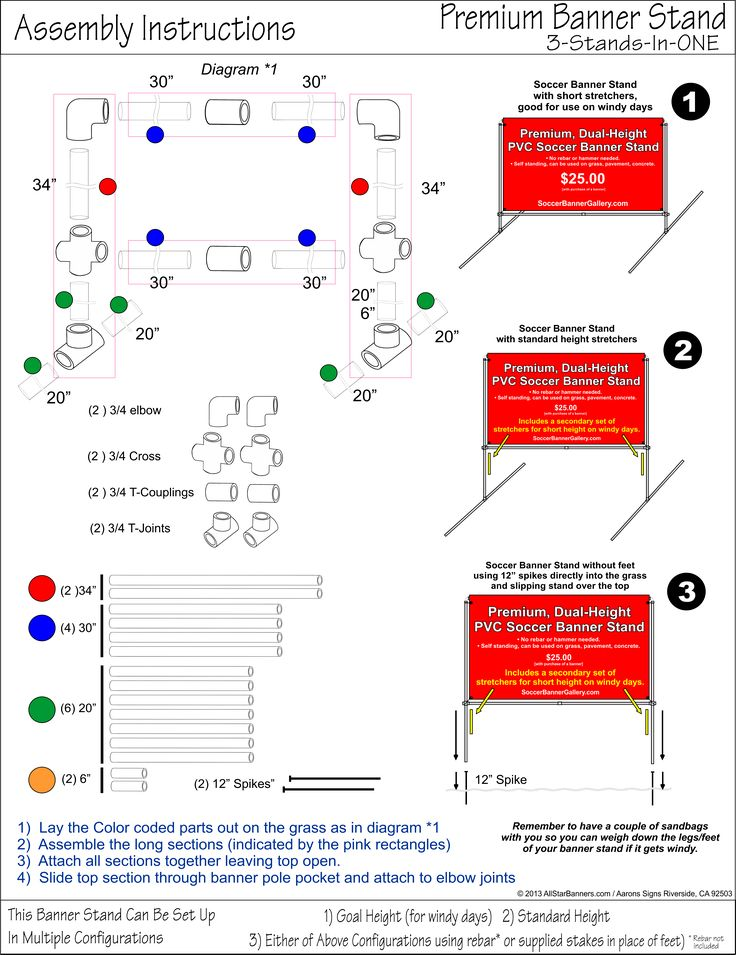 Detailed information on how to make a DIY #soccerbannerstand based on the soccer banner stand sold at #AllStarBanners