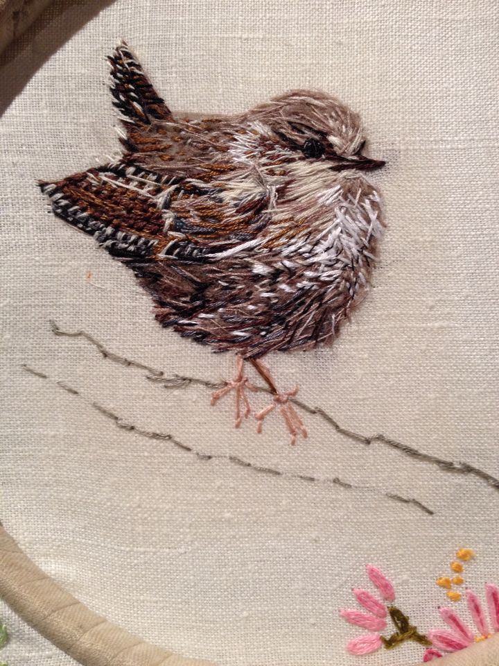 Wee Wren - hand embroidery by Laura Edgar - sweet wren, love the texture achieved,  very well done Laura. Adorable
