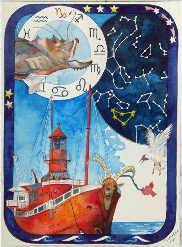 Die Barkassen und das Feuerschiff sind Wahrzeichen des Hamburger Hafens | Hamburger Feuerschiff im Zeichen der Sterne (c) Aquarell von FRank Koebsch