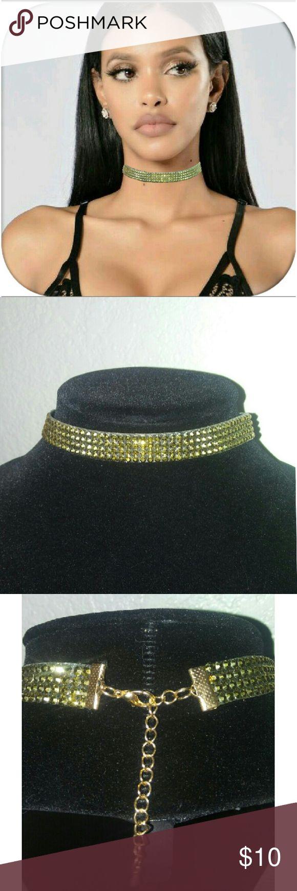 ✨Gold Rhinestone Choker Handmade gold rhinestone choker. Adjustable to your size. Same day shipping❗ 🎈🎈💝 Jewelry
