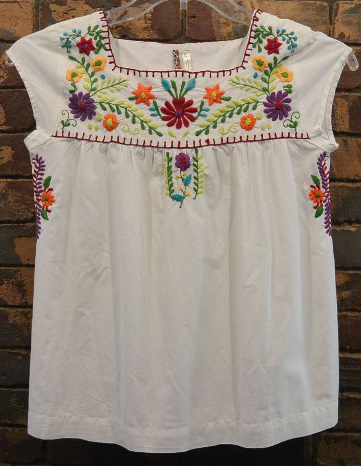 S Med Mexican Ethnic Floral Shirt Embroidered Hippie Women Blouse Top | eBay