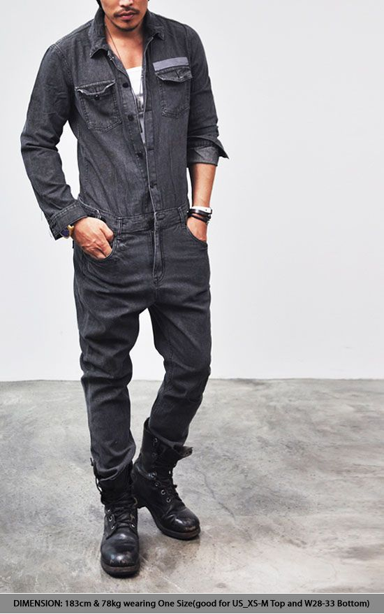 Workwear Mod Retro Vintage Washed Black Utilitarian Jumpsuit by Guylook | eBay