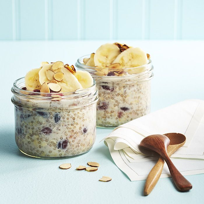 Overnight Chia Oatmeal In A Mason Jar Recipe Breakfast and Brunch with unsweetened almond milk, rolled oats, chia seeds, honey, vanilla, dried cranberries, dried cranberries, figs, bananas, toasted slivered almonds