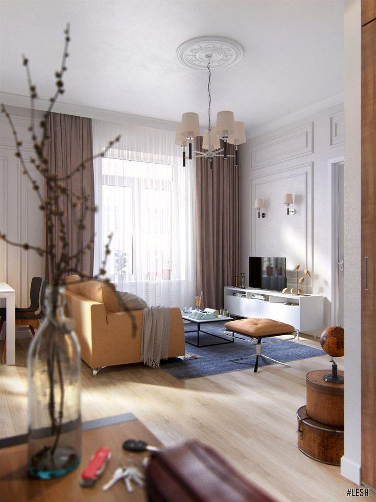 Смешанная гостиная | Студия LESH  (гостиная, дизайн гостиной, интерьер гостиной, эклектика, современная гостиная, классическая гостиная)