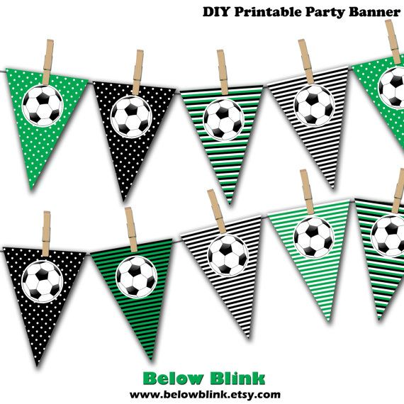 Soccer Ball Banner Soccer Birthday Printable Party by BelowBlink