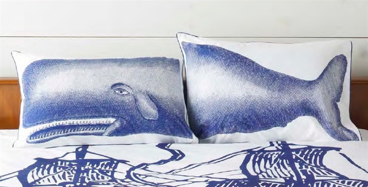 Pair of Moby Shams in Ink design by Thomas Paul