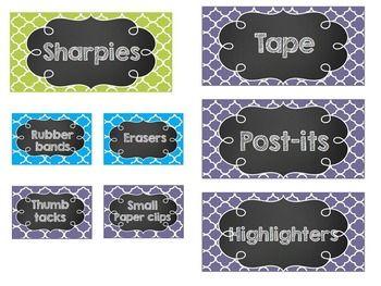 EDITABLE Chalkboard Teacher Toolbox Labels- Blue, Green, a
